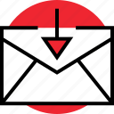 activity, arrow, down, email, internet, mail, online icon