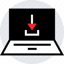 activity, down, download, internet, laptop, online icon