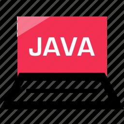 development, java, laptop, online, web icon