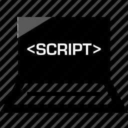 development, laptop, online, script, web icon