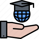 education, global, hand, learning, online, planet, training icon