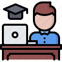 desk, education, laptop, learning, man, online, training