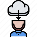 2, cloud, education, head, learning, online, training icon