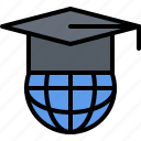 cap, education, global, learning, online, planet, training icon
