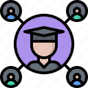 education, graduate, learning, network, online, people, training icon