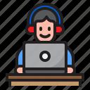 online, learning, listen, man, communication, headphone