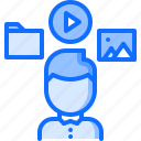education, file, learning, man, media, online, training icon