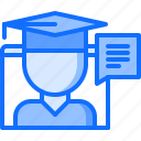 conversation, education, graduate, learning, message, online, training icon