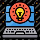 education, elearning, idea, laptop, lightbulb