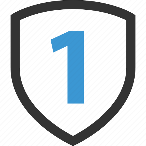 award, number, one, shield icon