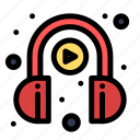 e, headphone, learning, play icon