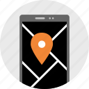cell, direction, gps, location, map, phone, pin icon