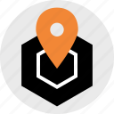 cube, direction, gps, location, map, pin, server icon