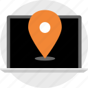 computer, direction, gps, laptop, location, online, pin icon