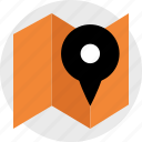 direction, fold, gps, location, map, mapping, pin icon