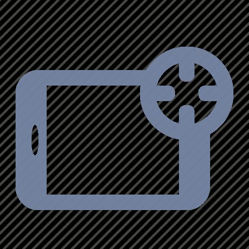advertising, aim, cross-hairs, marketing, scope, tablet, target icon