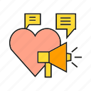 announce, campaign, heart, love, marketing, megaphone icon