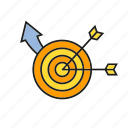 campaign, dart, focus, marketing, target icon