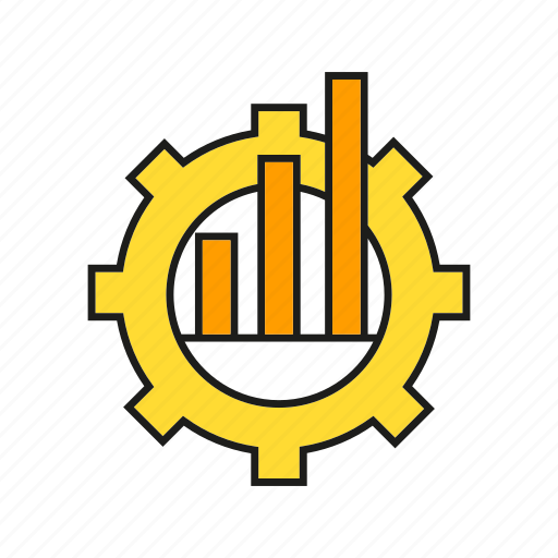 chart, cog, gear, graph, stats icon