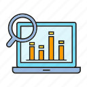 analytics, computer, graph, laptop, magnifier, search icon