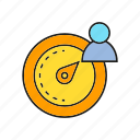 measure, meter, speedometer, user icon