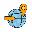 arrow, globe, location, pin, world, www icon