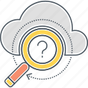 cloud, cloud search, magnifier, magnifying glass, search icon
