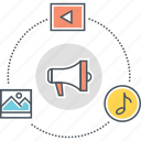 advertizing, content marketing, marketing, video marketing icon