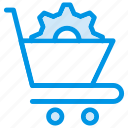 cart, cog, cogwheel, gear, options, setting, shopping
