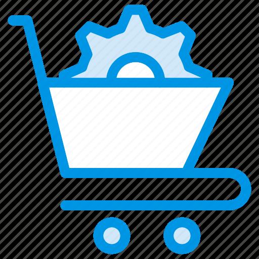 cart, cog, cogwheel, gear, options, setting, shopping icon
