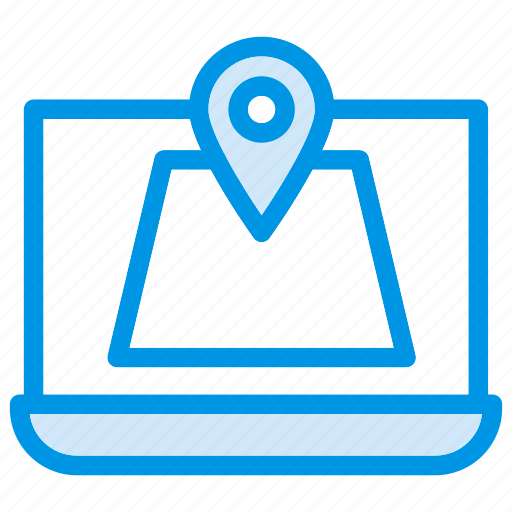 computer, laptop, map, navigate, online, pin, point icon