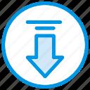 arrow, communication, data, direction, down, download, inbox