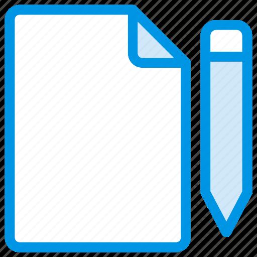 Pencil, format, edit, write, draft, file, document icon
