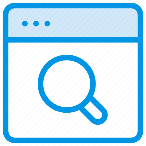 browser, connection, magnifierglass, search, web, website, zoom icon