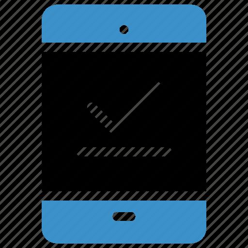 check, device, mobile, multimedia, phone, sync, tick icon