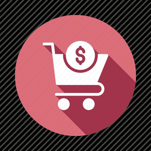 buy, cart, checkout, coin, dollar, shopping, trolley icon