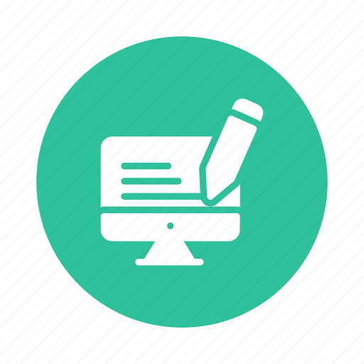 content, copywriting, editing, optimization, paper, pencil, writing icon