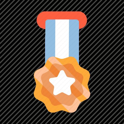 achievement, award, badge, gold, medal, ribbon, winner icon