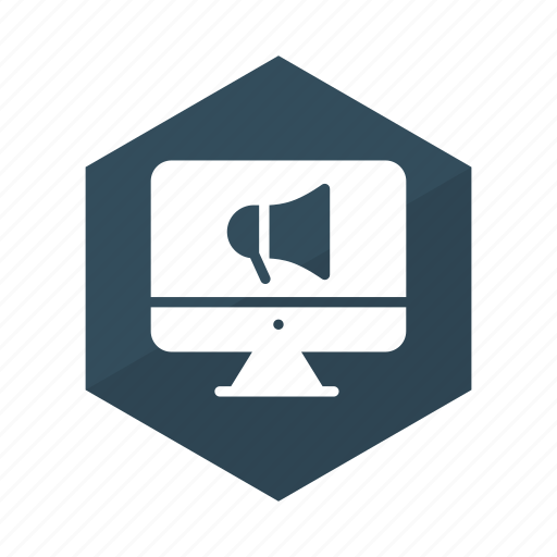 advertisement, advertising, announcement, marketing, megaphone, online, promote icon