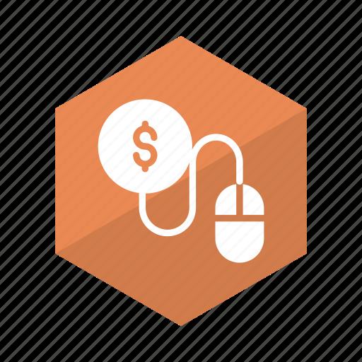 business, click, coin, cursor, mouse, pay, per icon