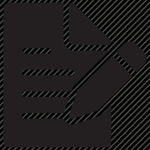 document, edit, file, format, paper, pencil, write icon