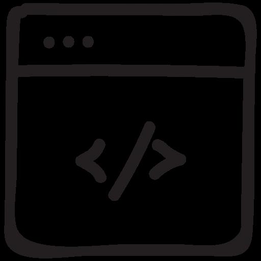 browser, code, development, root, script, tag, web icon
