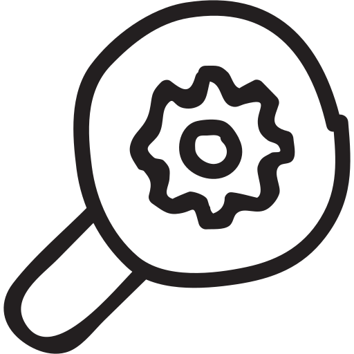 business, cog, magnifier, magnifying, search, setting, zoom icon