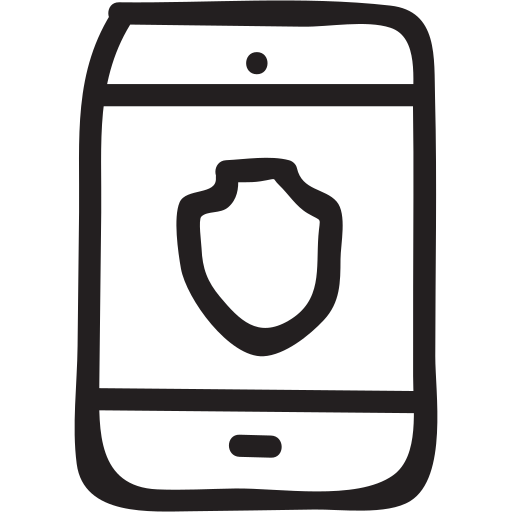 internet, mobile, phone, protection, security, shield, smartphone icon