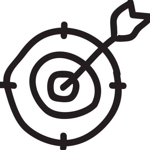business, goals, mission, office, seo, target, targetting icon