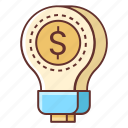 creative, creativity, light bulb, marketing idea icon