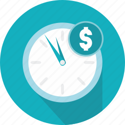 business, clock, coin, money, time, wall icon