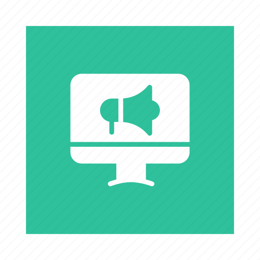 advertisement, advertising, announcement, megaphone, online, onlineadvert, promote icon