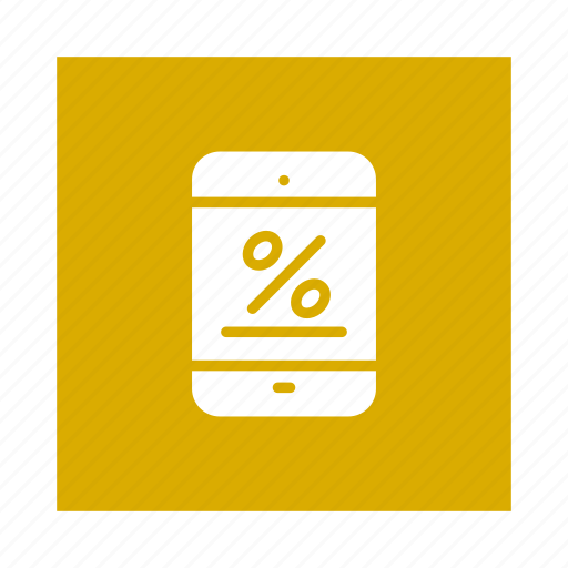 discount, interest, mobile, offer, percentage, phone, sale icon