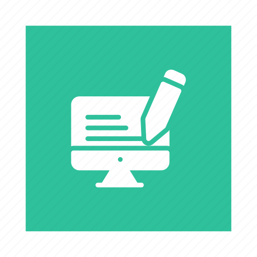 content, copywriting, editing, optimization, paper, pencil, writing icon